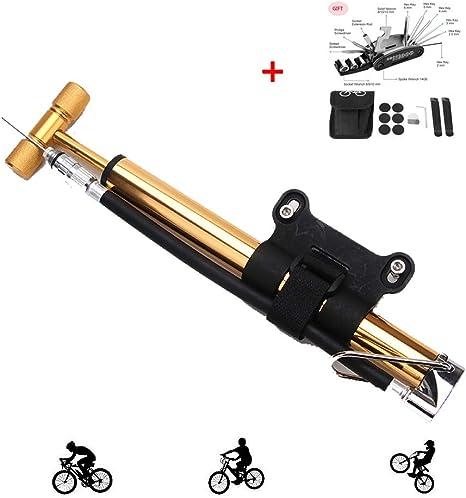 KuaiKeSport Mini Bomba Bicicletas Carretera,Bombas de pie con Herramienta de Reparación de Bicicletas 16 en, Bomba Bicicleta BMX Valvula Presta y Schrader,Bomba de Bici Portátil,Bombas de Marco,Oro: Amazon.es: Deportes y aire libre