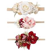 Floral Headbands For Baby Girls Lightweight Flower Nylon Elastic Hair Band For Newborn Infant Toddler (3 Pcs Flowers Head bands)
