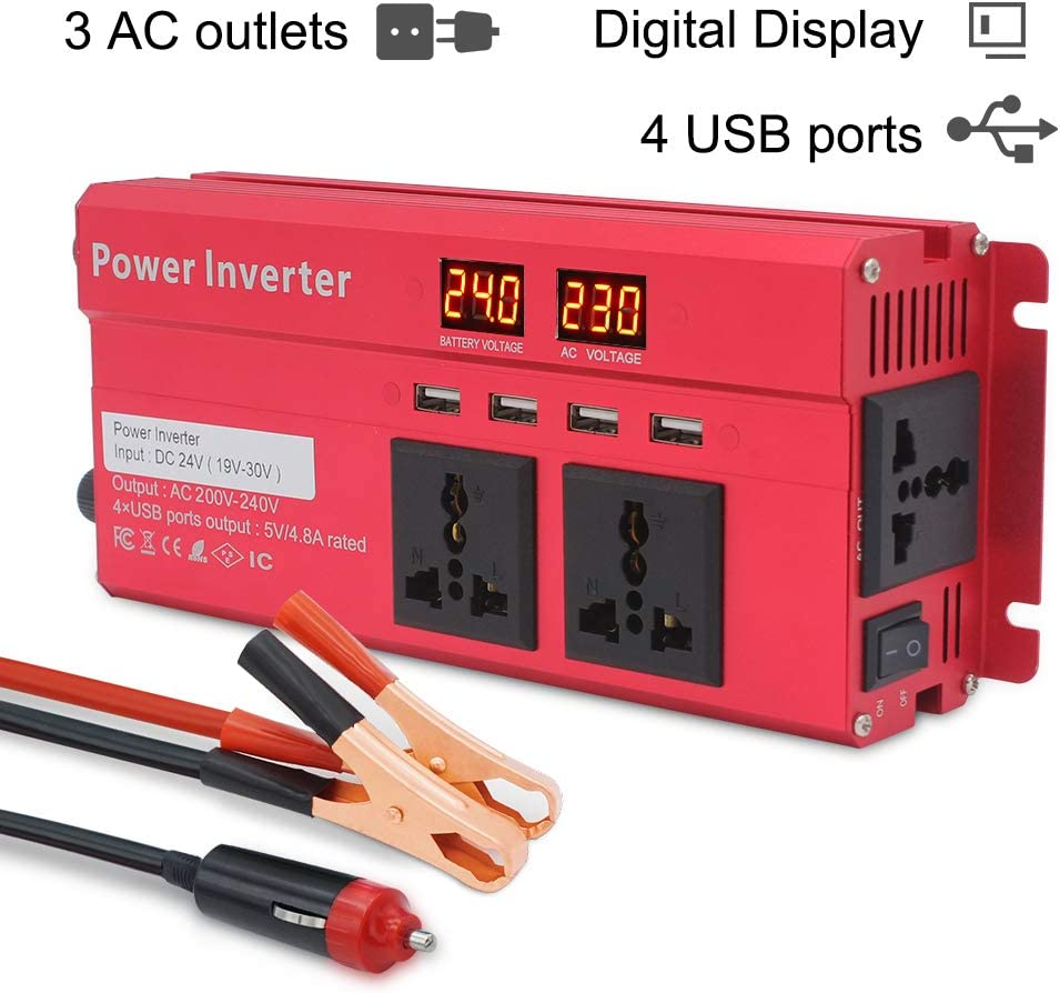 Cantonape Inversor 24V 230V, 800W/2000W Inversor de Corriente con 4 USB 3 Tomas de CA Convertidor de Coche
