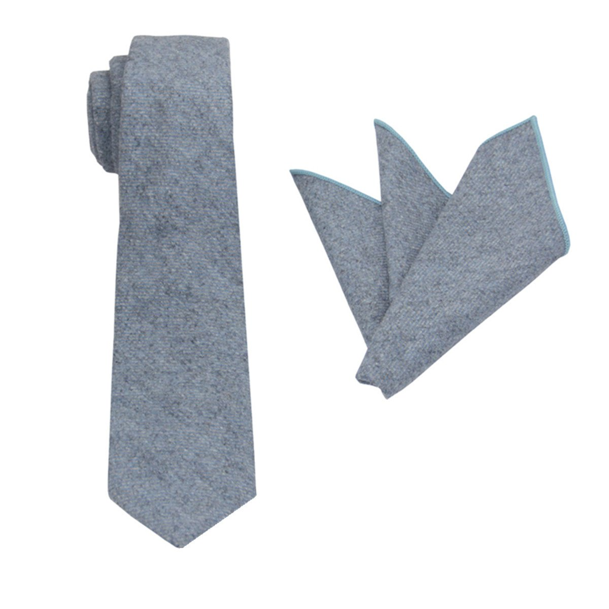 Mens Wool Tie Set :Necktie with Pocket Square (Pale Blue) by Gollate