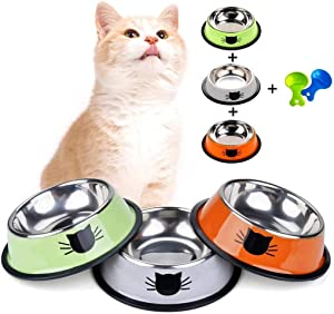 Dorakitten Stainless Steel Cat Bowls - Cat Food & Water Bowls Non Slip Cat Dishes 3 Pet Bowl with 2 Food Scoop for Cat Kitten Puppy Small Dog (Green & Grey & Orange)