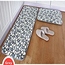 FADFAY 2-Piece Bathroom Rug Set Pebble Stone Rug Memory Foam Floor Mats for Kitchen Anti-Slip Floor Runner Rugs Set