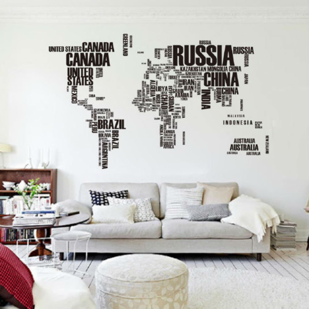 Mapa Del Mundo Carta Pvc Original Decoraci N Casera Creativa Room  ~ Decoracion Pared Salon Original