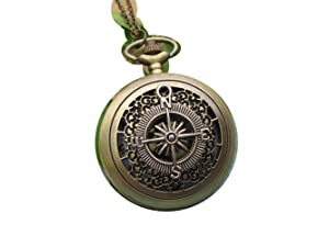 Vintage Compass pocket watch charm necklace