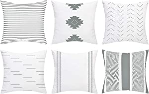 Yastouay Decorative Pillow Covers Set of 6 Modern Pillow Covers Geometric Pillow Covers Simple Strings Pillow Cases Home Decor Cushion Covers for Couch Sofa Bedroom Car (Grey, 18 x 18 Inch)