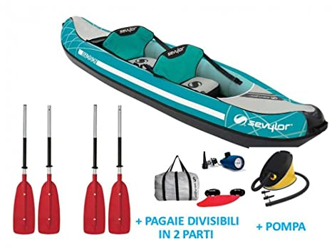 Sevylor Madison inflatable canoe 2 person package kayak pump paddles