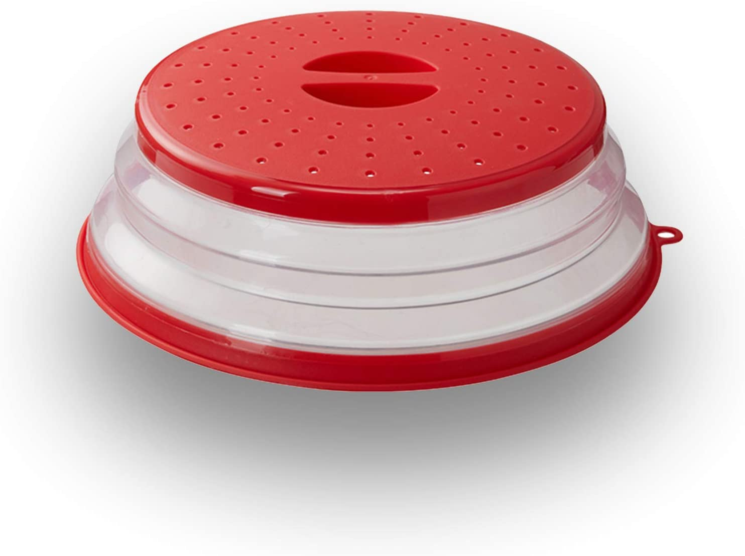 WENWELL Vented Collapsible Microwave Splatter Cover for Food,Kitchen dish bowl Plate lid Can be Hung,Dishwasher-Safe,Fruit Drainer Basket,BPA-Free Silicone & Plastic,Red