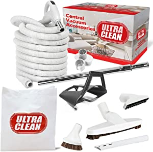 Ultra Clean Central Vacuum Hardwood Kit - Low-Voltage 24V Crush-Proof Hose with ON/Off Switch Cleaning Tools and Extandable Telescopic Wand (Light Grey, 35 ft)