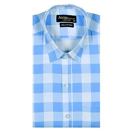 ACCOX Half Sleeves Formal Regular Fit Cotton Check Shirt for Men Men's Formal Shirts at amazon