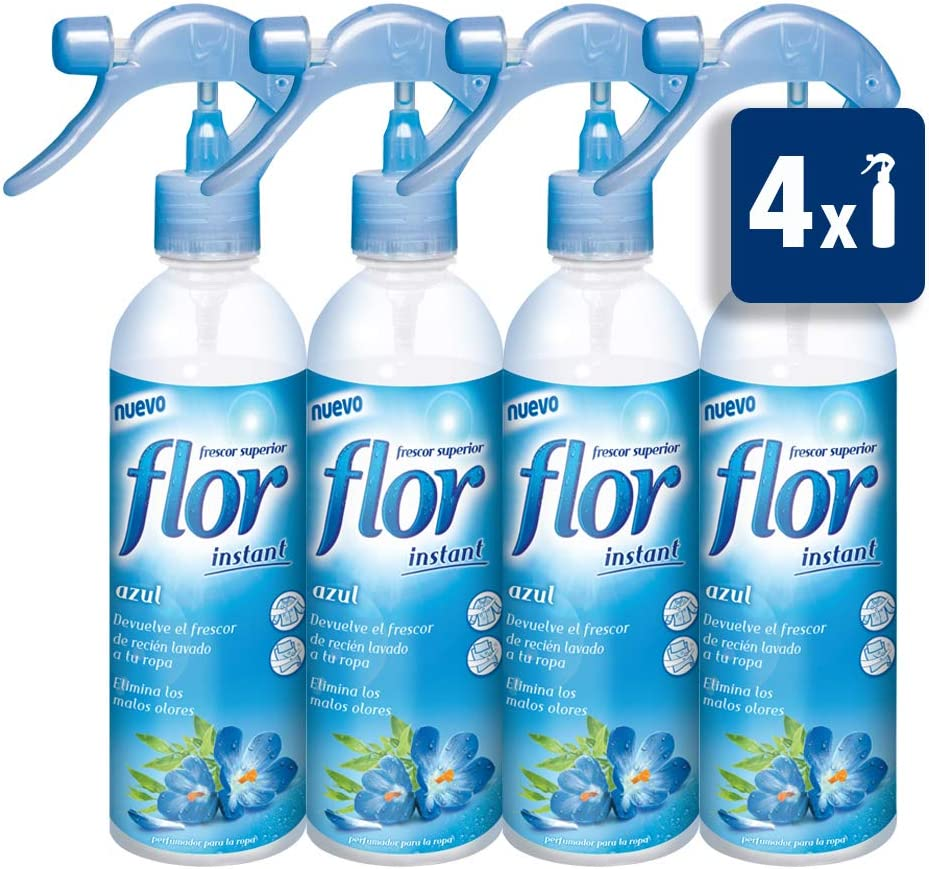 Flor - Instant Azul - Perfumador para la ropa - 345 ml - [Pack de 4]