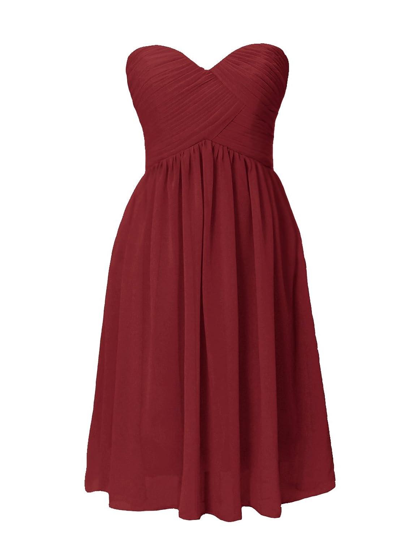 Dresstells Brautjungfernkleid Knielang Herzförmig Chiffon Sommerkleid DT90251