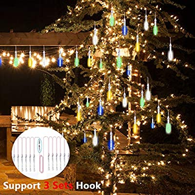 ohCome Led Tube Star Flashing Starry Lights 10cm 10 Spiral Tubes 120 LEDs Waterproof Flashing String Lights for Wedding Halloween Christmas Garden Trees Home Decor, Support 3 Sets Hook (Multicolor) : Garden & Outdoor