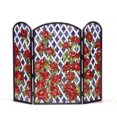 (Stained Glass Rose Trellis Folding Fireplace Screen)
