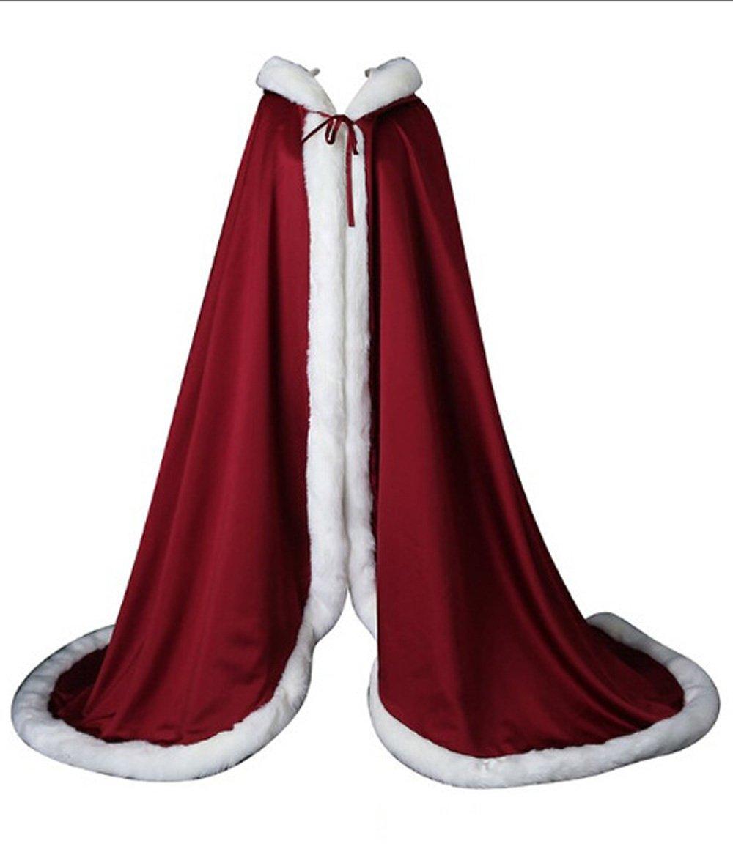HomeABC Women's Bridal Cape Wraps Faux Fur Wedding Long Coat Suit Jacket Wine Red