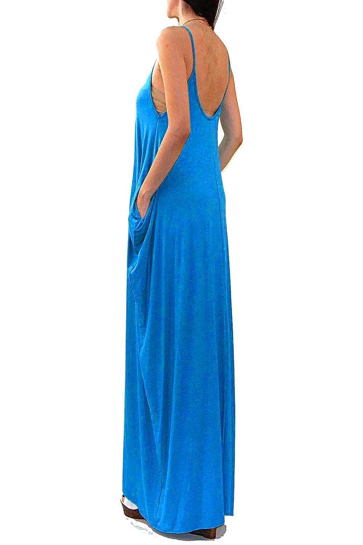 51033579be Vivicastle USA Batwing Oversized Loose Plain Summer Sleeveless Pocket Long  Maxi Dress at Amazon Women's Clothing store: