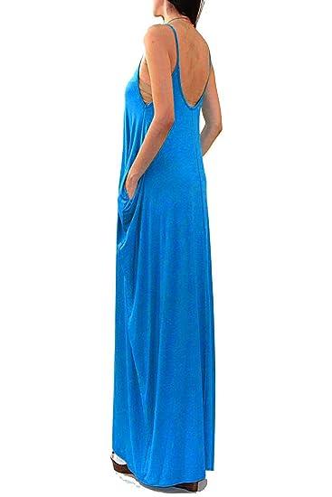 eb45ac61eb Vivicastle USA Batwing Oversized Loose Plain Summer Sleeveless Pocket Long  Maxi Dress at Amazon Women s Clothing store