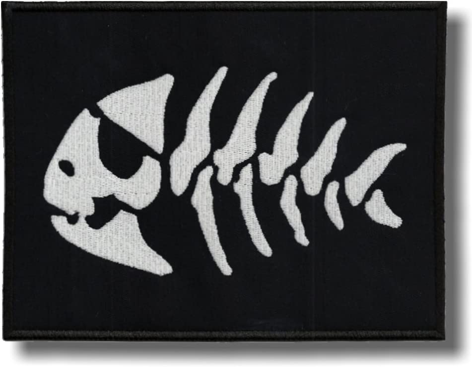 Fish skeleton embroidered patch 8 X 6 cm
