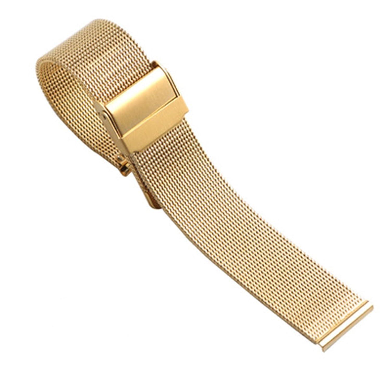 Leaptop 20 mm Meshステンレススチールブレスレット腕時計バンドストラップ保険バックル厚いソリッドMilanese Watchストラップ ゴールド  ゴールド B0758423J6