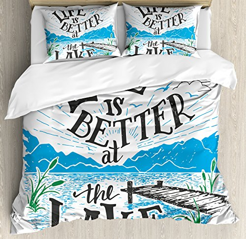 Cabin Decor Queen Size Duvet Cover Set by Ambesonne, Life is Better at the Lake Wooden Pier Plants Mountains Outdoors Sketch, Decorative 3 Piece Bedding Set with 2 Pillow Shams, Blue Black Green