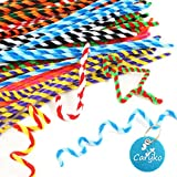 Caryko Striped Chenille Stems Pipe Cleaners, Pack of 100 (Multicolored)