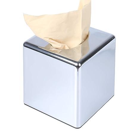 Surprising Crownstarqi Cube Mirror Square Tissue Box Cover Holder Kleenex Napkin Holder Bathroom Organizer Stand Stainless Steel Finish Home Remodeling Inspirations Genioncuboardxyz