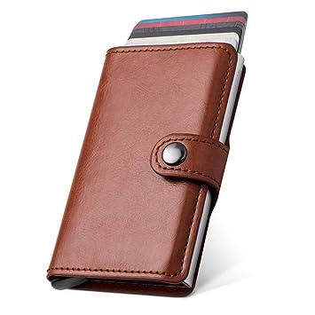 6210bd5e7 LunGear Cartera Pequeña para Tarjeta de Crédito y Dinero,Tarjetero de  Aluminio y Cuero con