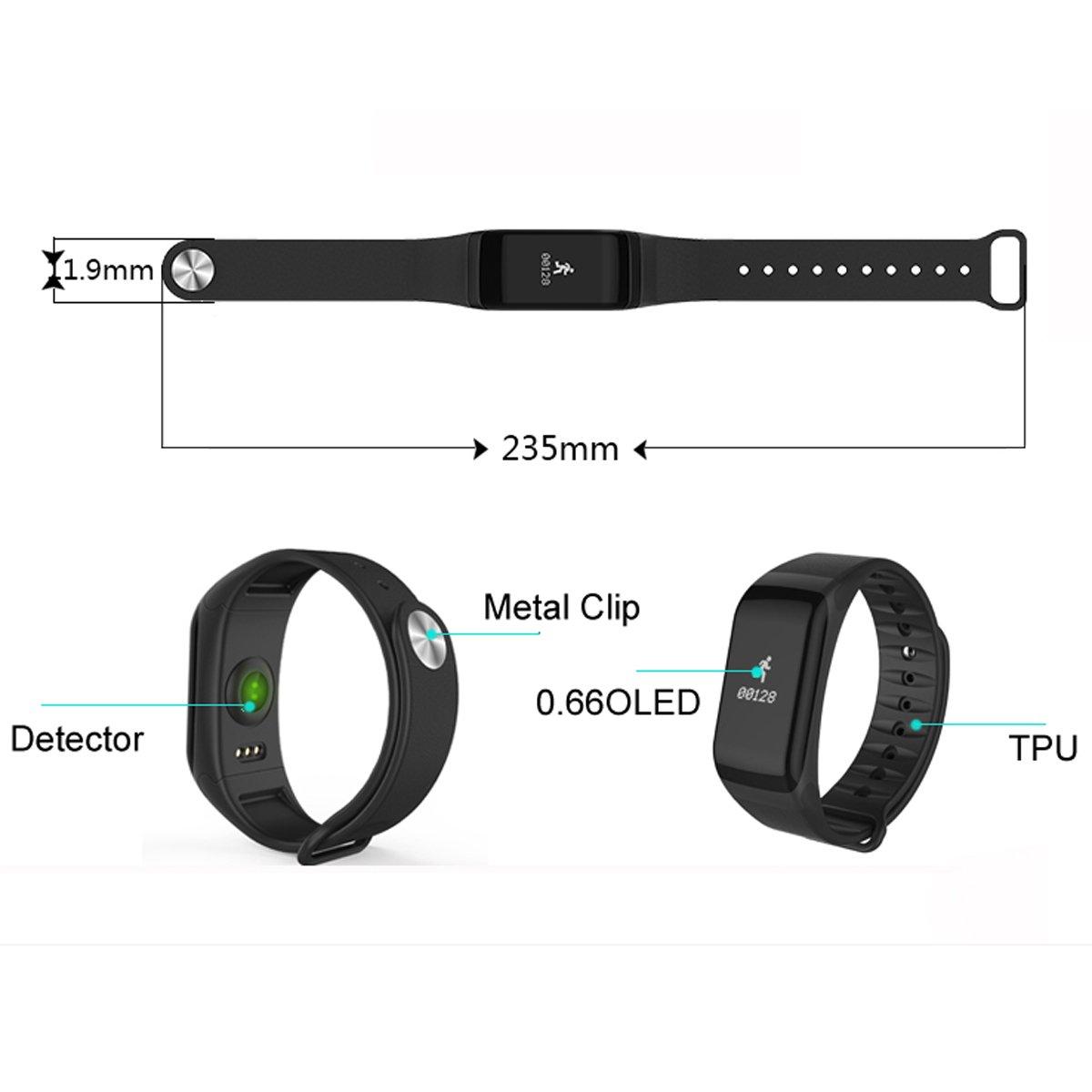 Hombres Mujeres Pulsera inteligente podómetro calorías Heart Rate Monitor presión arterial deporte relojes: Amazon.es: Relojes