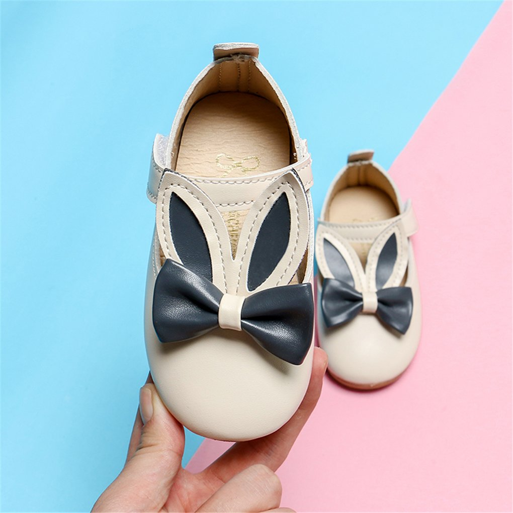 Toddler Girls Rabbit Ears Bowknot Mary Jane Flats Princess Costumes Dress Shoes Beige Size 24 by lakiolins (Image #4)