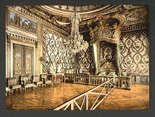 1890 Photo Bedroom of Marie Antoinette, Fontainebleau Palace, France (Marie Antoinette Stock)