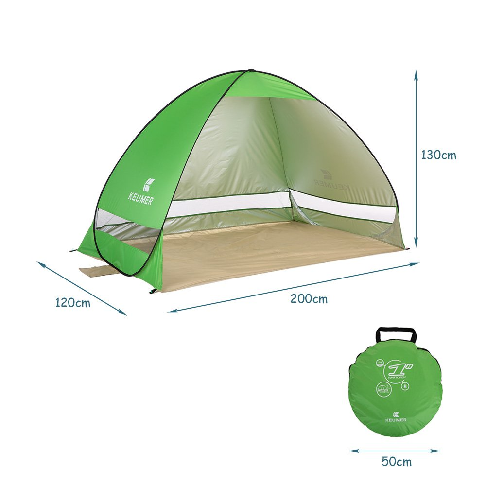 Docooler Beach Shade Tent Sun Shelter Automatic Pop up Instant Anti UV Cabana with a Carry Bag