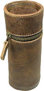 Hide & Drink, Leather Cylinder Pencil Case, Pen Organizer Holder, School & Office Essentials, Handmade :: Bourbon Brown