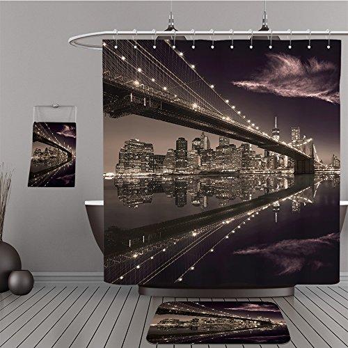 Uhoo Bathroom Suits & Shower Curtains Floor Mats And Bath Towels 247814599 Brooklyn Bridge sunset New York Manhattan skyline NY NYC USA For Bathroom