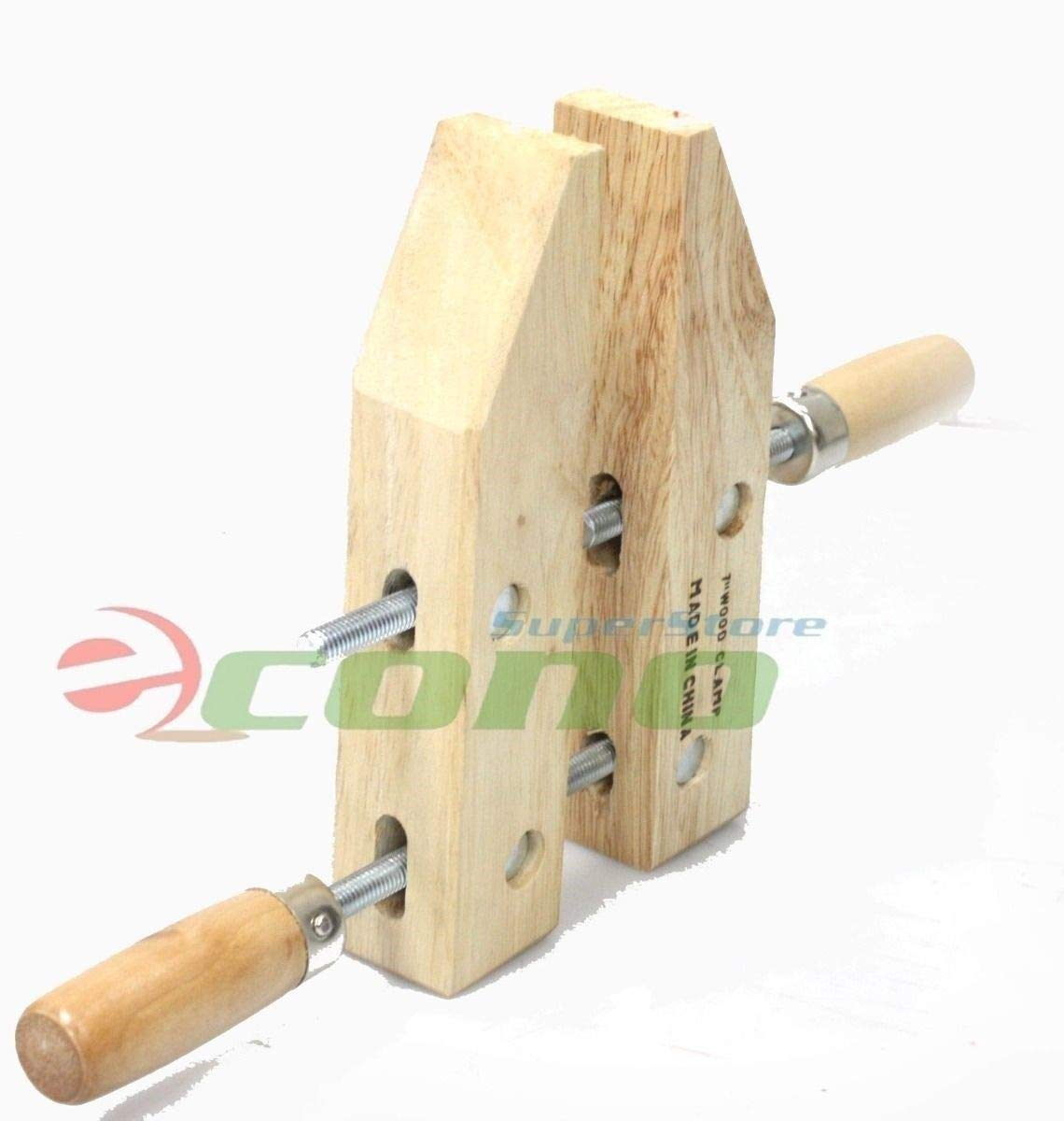 KCHEX>Lot SIX(6) 7'' wood working clamps tools wood handscrew''7''>7'' WOOD CLAMPS WOODWORKING CLAMPS Each 3-1/2'' DEEP X 3-1/4'' OPEN WIDE,& 1-3/8'' THICK by COLIBROX (Image #1)