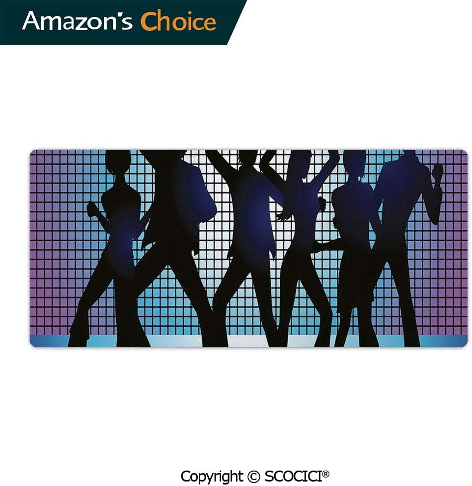 AmaUncle Professional Gaming Mouse Pad Silhouettes of Couples Dancing in Night Club Energetic Custom Design Waterproof Non-Slip Rubber Base Mousepad 23.6 x 11.8