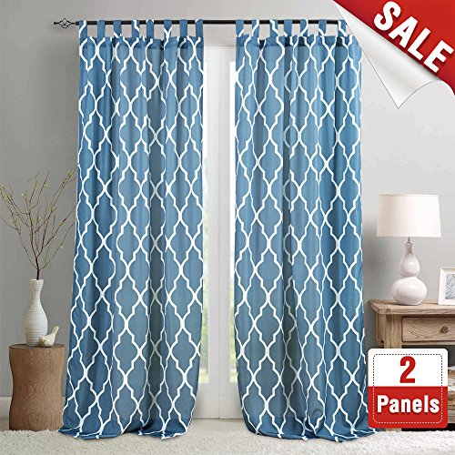 Moroccan Tile Print Bedroom Curtains 108 Inches Length Lattice Quatrefoil Printed Water-repellent Tab Top Trellis Canvas Living Room Curtain Panels Blue Window Curtains, 2 Panels (Bedroom Moroccan)