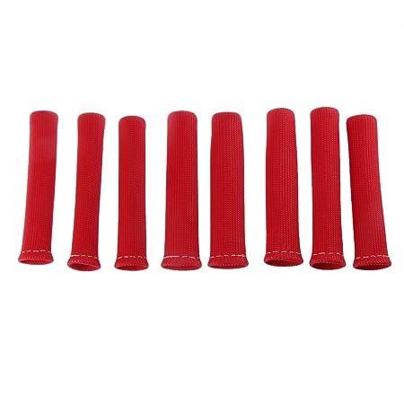8pcs Cubierta Protector de Manga Escudo Térmico Cable de Bujía Botas Motor Rojo: Amazon.es: Coche y moto