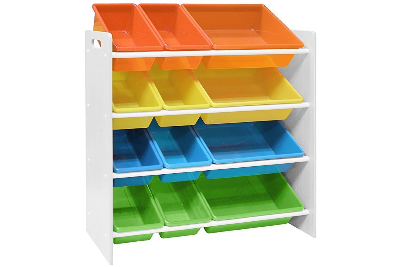 Pidoko Kids Toy Storage Organizer | Wooden Children's Storage Rack, with Plastic Bins (White) by Pidoko Kids