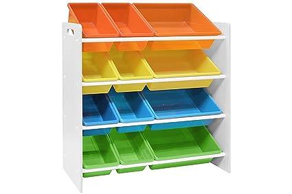 Superieur Pidoko Kids Toy Storage Organizer   Wooden Childrenu0027s Storage Rack, With  Plastic Bins (White
