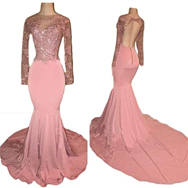 TbDesses Sheer Neck Long Sleeves Prom Dresses Pink Open Back Appliques Evening Party Gowns Special Occasion