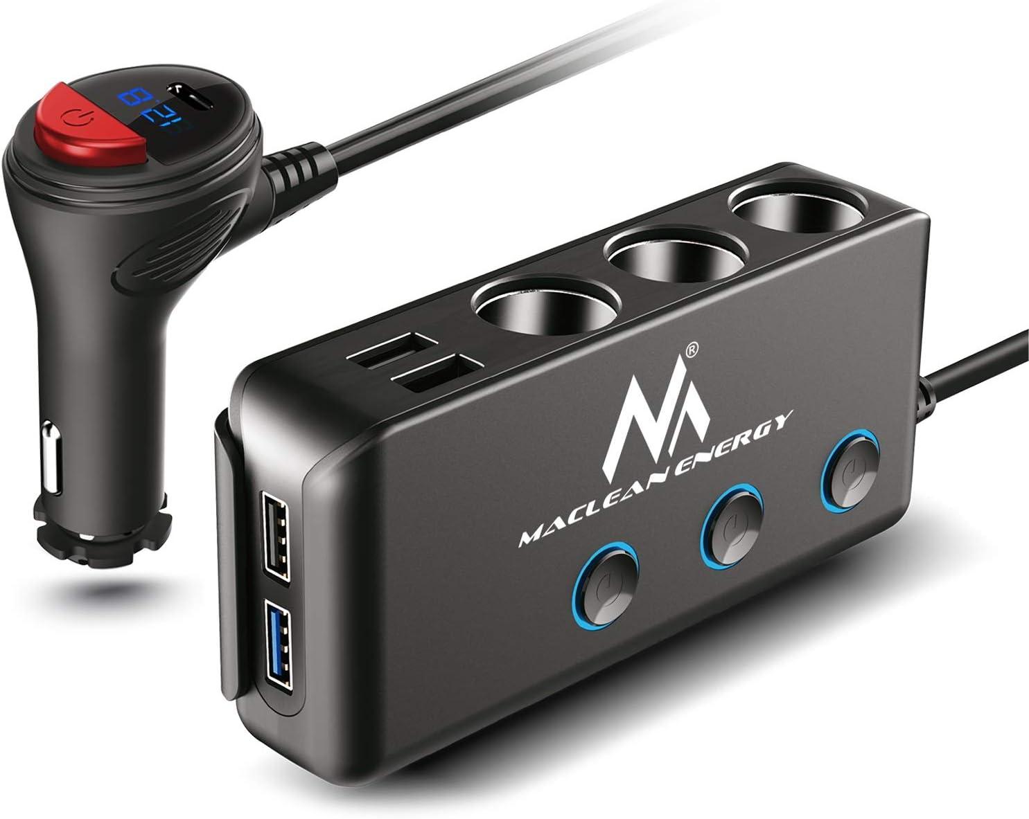 Maclean Mce218 3 Fach Kfz Verteiler Zigarettenanzünder Adapter 1xqc3 0 3xusb Anschlüsse Led Voltmeter Max 120w Ladegerät Power Delivery 18w Navigation