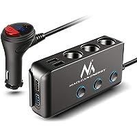 Maclean MCE218 3-voudige auto-verdeler sigarettenaansteker adapter 1x QC3.0 3x USB-aansluitingen LED voltmeter Max 120W…