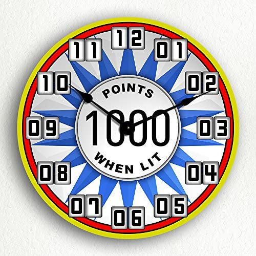 Classical Creations Pinball Bumper Theme Game Room 12 Silent Wall Clock