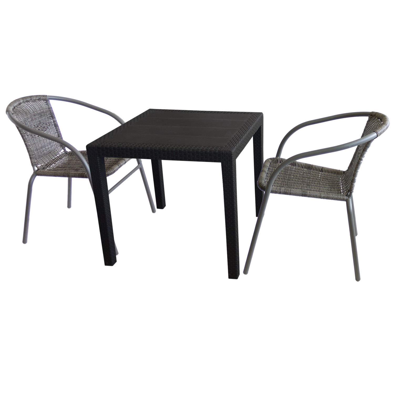 3tlg. Bistrogarnitur Tisch 79x79cm Rattan-Look Schwarz + 2 Bistrostühle Grau stapelbar Gartentisch Kunststoff