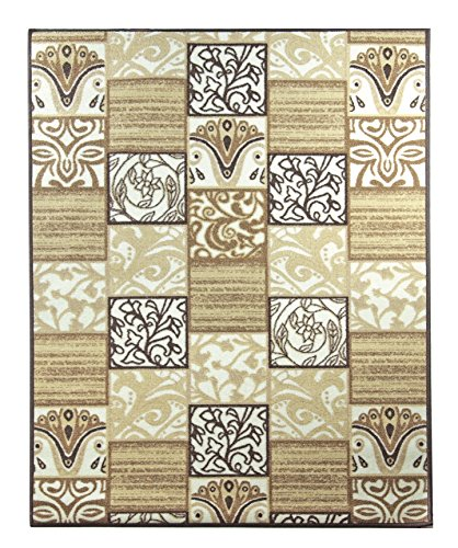 Adgo Collection Contemporary Oriental Square Design Rubber-Backed Non-Slip Non-Skid Easy Clean Area Rugs Mat, Gold Brown , 3'3