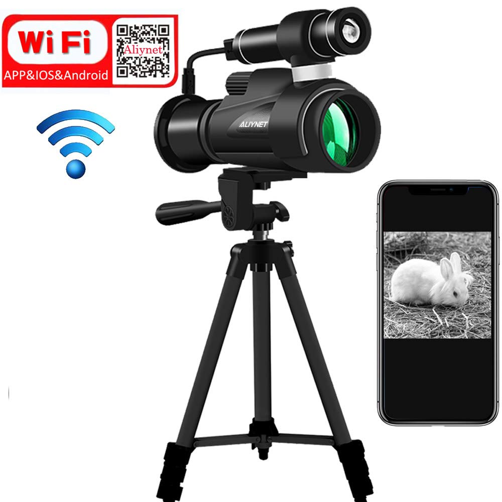 Aliynet Infrared Night Vision Monocular with WiFi Wireless Connect with Smartphone Application,HD Night Vision Telescope with Big Tripod&Phone Adapter for Outdoor Trip,Camping Night Watching by Aliynet
