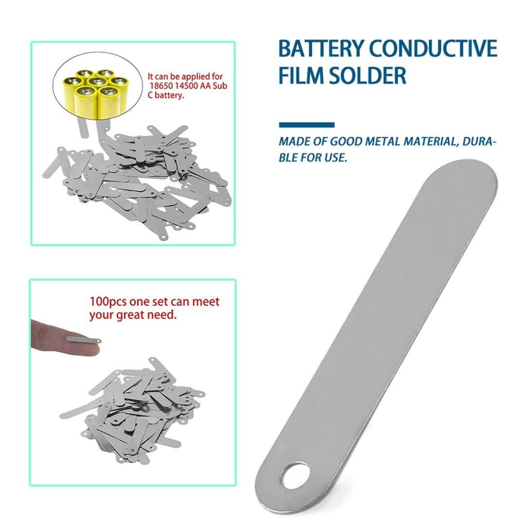 100pcs 0.5CM Pesta/ña de soldadura para bater/ía recargable 18650 (plata) set Conductive 2.5