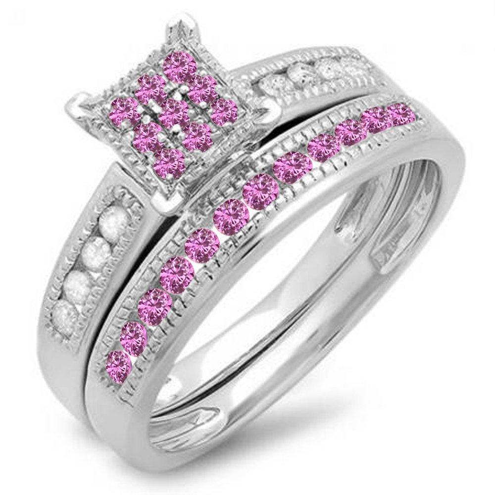 DazzlingRock Collection Sterling Silver Round Pink Sapphire & White Diamond Engagement Bridal Ring Matching Band Set (Size 5)