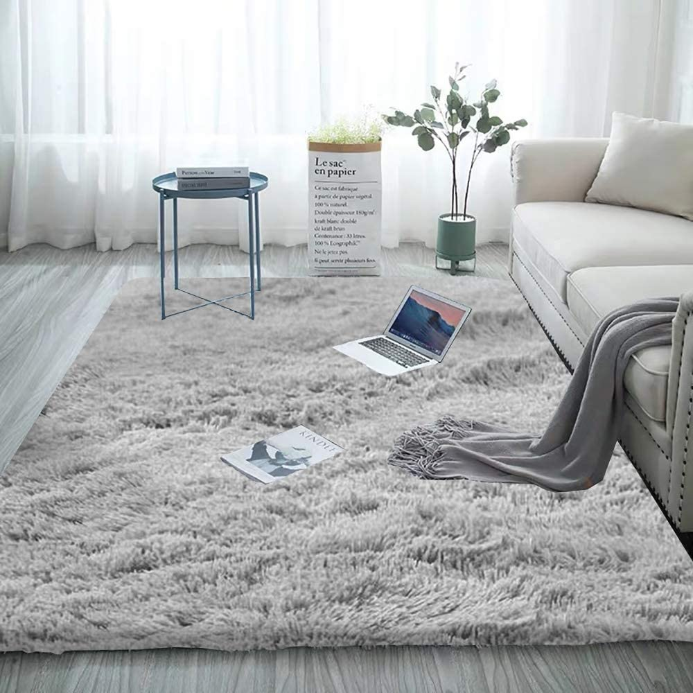 Rainlin 5.2 x 6.6 Soft Fluffy Area Rug Modern Shaggy Bedroom Rugs for Kids Room Extra Comfy Nursery Rug Floor Carpets Boys Girls Fuzzy Shag Fur Home Decor Rug Pure Grey