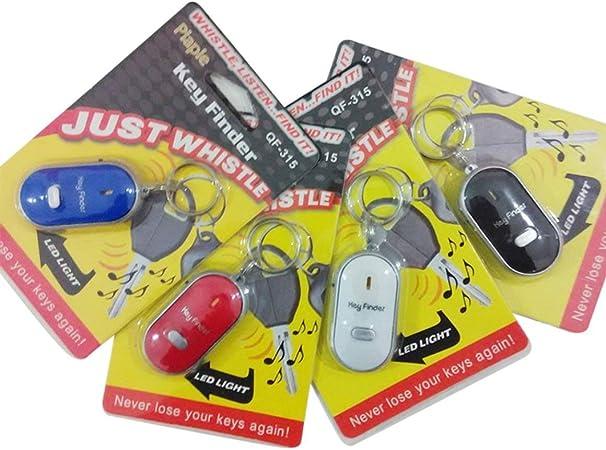 Rojo Funnyrunstore LED Whistle Key Finder Parpadeante Control de Sonido Alarma Anti-perdida Buscador de localizador de keyfinder con Llavero