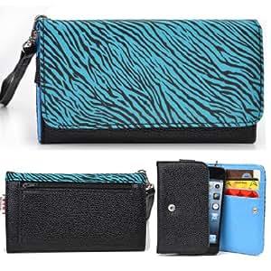 EXXIST® Metro Safari Series. Faux Leather Clutch / Wallet for HTC M4 (Color: Blue Zebra / Black) -ESMLMTZ1